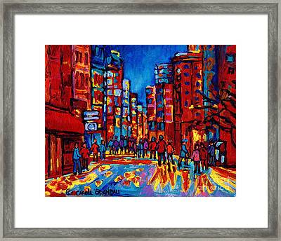 Downtown Skyline City After The Rain Montreal Skyscapers Rue Ste. Catherine Canadian Art Framed Print by Carole Spandau