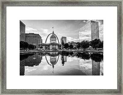 Downtown St. Louis Skyline Morning Sunrise Reflections - Black And White Framed Print by Gregory Ballos