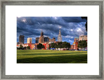 Downtown Sunrise Shadows Framed Print