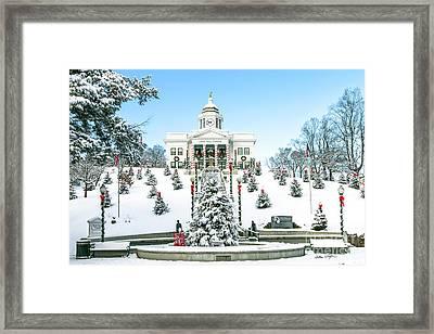 Downtown Sylva Courthouse Christmas 2016 Framed Print by Matthew Turlington