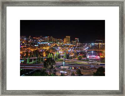 Downtown Tacoma Night Framed Print
