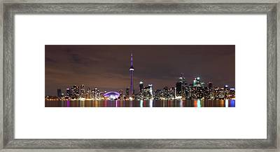 Downtown Toronto - Lit Up Framed Print