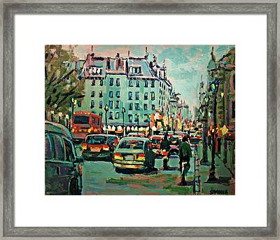 Downtown Traffic Framed Print by Brian Simons