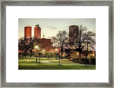 Downtown Tulsa Oklahoma Skyline. Ca. 2011 - Lighting Up The Night Framed Print