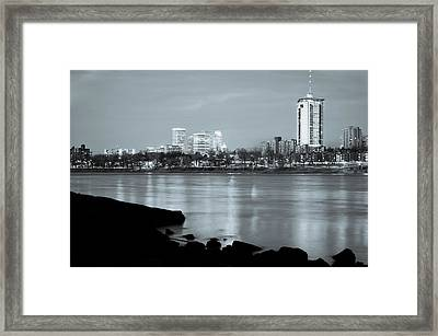 Downtown Tulsa Oklahoma - University Tower View - Black And White Framed Print