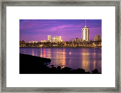 Downtown Tulsa Oklahoma - University Tower View - Purple Skies Framed Print by Gregory Ballos