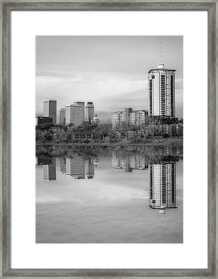 Downtown Tulsa Skyline Reflections In Black And White - Oklahoma Art Framed Print