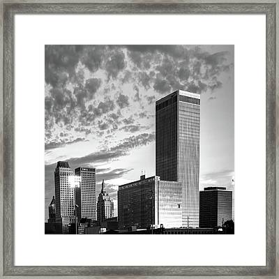 Downtown Tulsa Skyline Squared In Black And White Framed Print