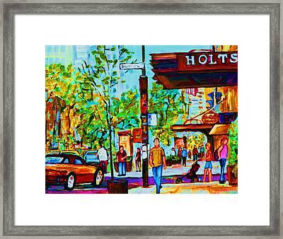 Downtowns Popping Framed Print by Carole Spandau
