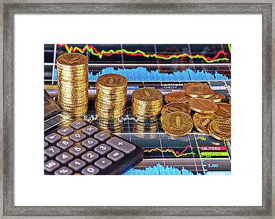 Downtrend Stacks Of Golden Coins, Calculator And Financial Chart Framed Print by Sergey Pro