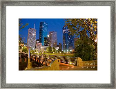 Dowtown Houston By Night Framed Print by Olivier Steiner