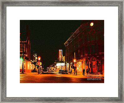 Doylestown-county Theater At Night Framed Print by Addie Hocynec