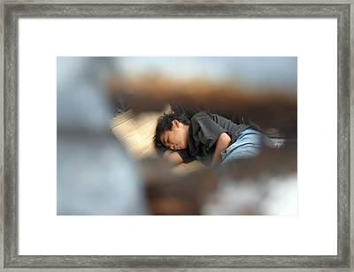 Dozing For As Long As I Can Framed Print by Jez C Self