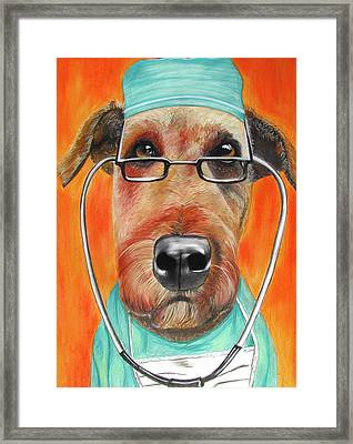 Dr. Dog Framed Print by Michelle Hayden-Marsan