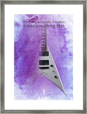 Dr House Quote And Electric Guitar On Purple Background Framed Print by Pablo Franchi
