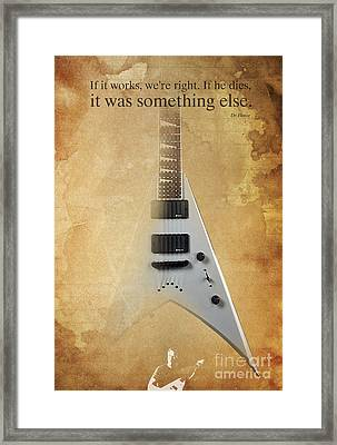 Dr House Quote And Electric Guitar On Vintage Background Framed Print