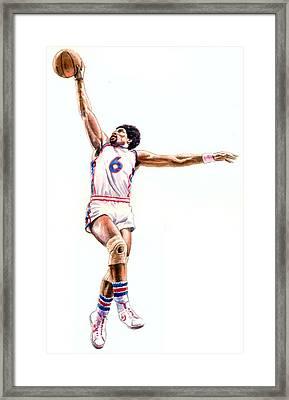 Dr J Framed Print by Ken Meyer jr