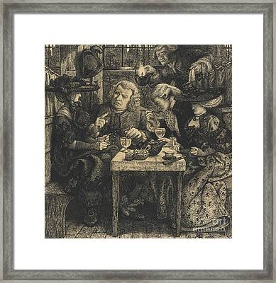 Dr Johnson At The Mitre Framed Print by Dante Gabriel Charles Rossetti
