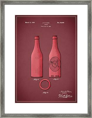 Dr Pepper Bottle Patent 1930 Framed Print