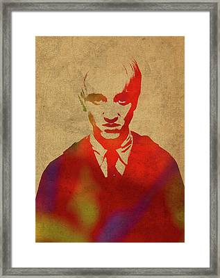 Draco Malfoy From Harry Potter Watercolor Portrait Framed Print