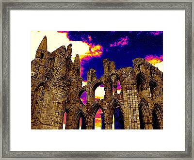 Dracula Abbey In Whitby England Framed Print by Jen White