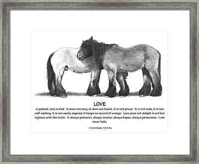 Draft Horses With Bible Verse About Love Framed Print by Joyce Geleynse