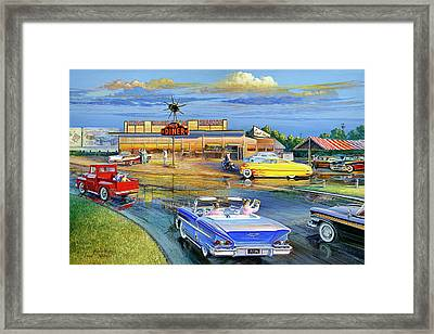 Dragging The Circle - Hub Diner Framed Print