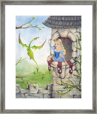 Dragon Above The Castle Wall Framed Print