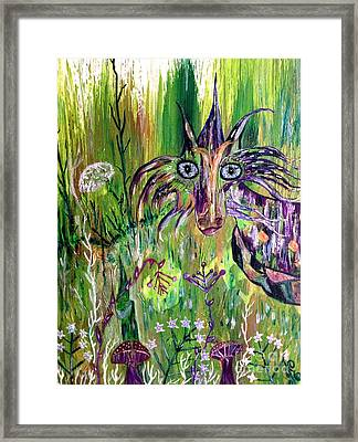 Dragon And Wizard Gnome Framed Print by Julie Engelhardt