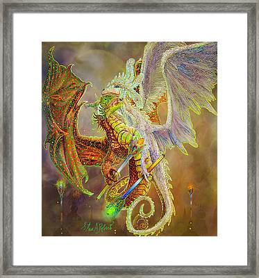 Framed Print featuring the painting Dragon Dancers by Steve Roberts