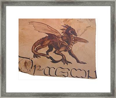 Dragon Detail On Ancient Celtic Map Framed Print by Marsha Wilson