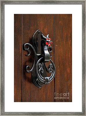 Dragon Door Knocker In Calaceite Framed Print by RicardMN Photography