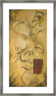 Framed Print featuring the painting Dragon Double Happiness by Dina Dargo
