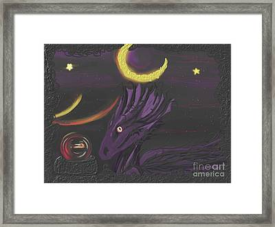 Framed Print featuring the painting Dragon Night by Roxy Riou