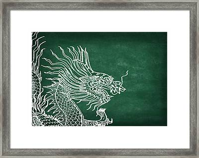 Dragon On Chalkboard Framed Print by Setsiri Silapasuwanchai