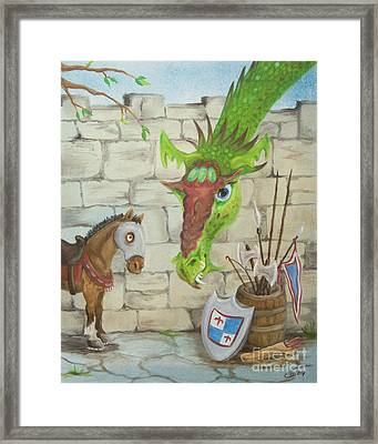 Dragon Over The Castle Wall Framed Print