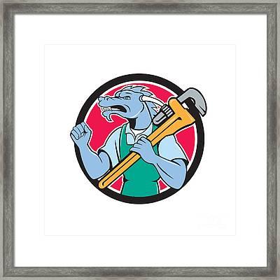 Dragon Plumber Monkey Wrench Fist Pump Cartoon Framed Print