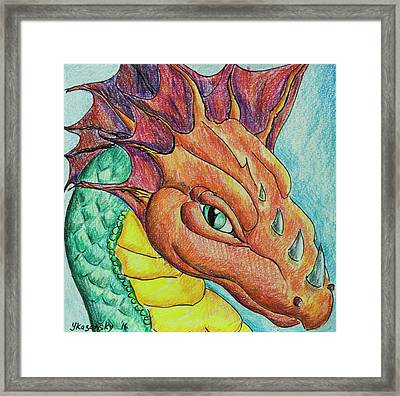 Framed Print featuring the drawing Dragon Portrait by Yulia Kazansky