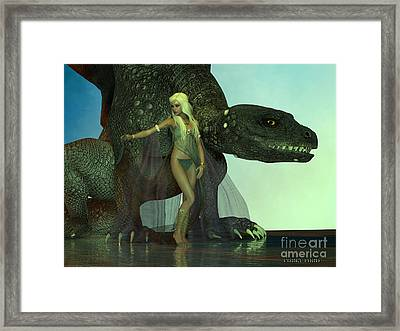 Dragon Protects Fairy Framed Print by Corey Ford