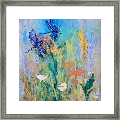 Dragonflies In Wild Garden Framed Print