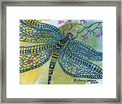 Dragonfly And Cherry Blossoms Framed Print