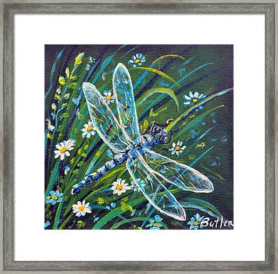 Dragonfly And Daisies Framed Print