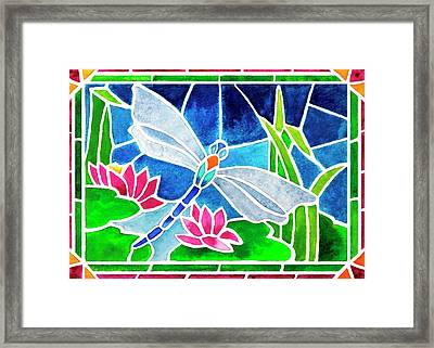 Dragonfly And Water Lilies In Stained Glass 2 Framed Print by Janis Grau