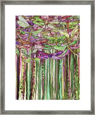 Framed Print featuring the mixed media Dragonfly Bloomies 1 - Pink by Carol Cavalaris