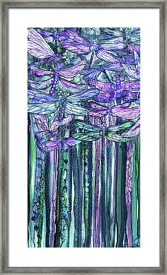 Framed Print featuring the mixed media Dragonfly Bloomies 2 - Lavender Teal by Carol Cavalaris
