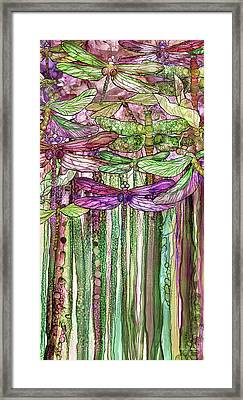 Framed Print featuring the mixed media Dragonfly Bloomies 2 - Pink by Carol Cavalaris