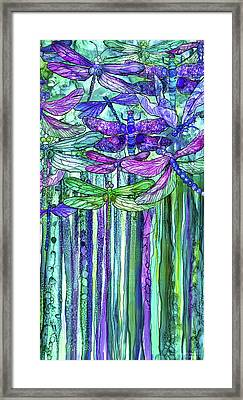 Framed Print featuring the mixed media Dragonfly Bloomies 2 - Purple by Carol Cavalaris