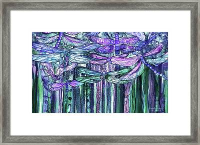 Framed Print featuring the mixed media Dragonfly Bloomies 3 - Lavender Teal by Carol Cavalaris