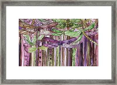Framed Print featuring the mixed media Dragonfly Bloomies 3 - Pink by Carol Cavalaris