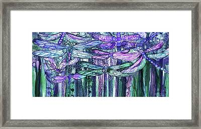 Dragonfly Bloomies 4 - Lavender Teal Framed Print